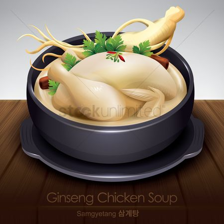 Dishes : Korean ginseng chicken soup