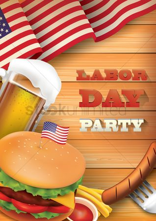 United states : Labor day party poster
