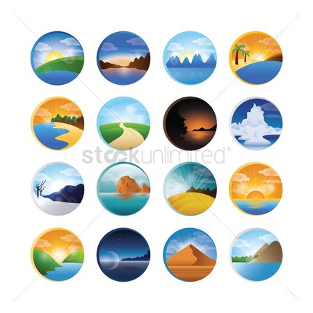 Seashore : Landscape icons collection
