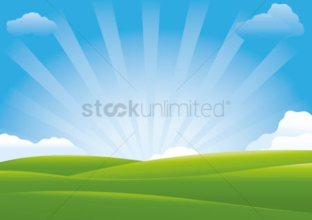 Sunray : Landscape of a sunshine over the meadow