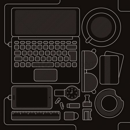 Wristwatch : Laptop and accessories flatlay design