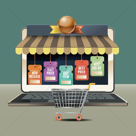 Market : Laptop and online shopping