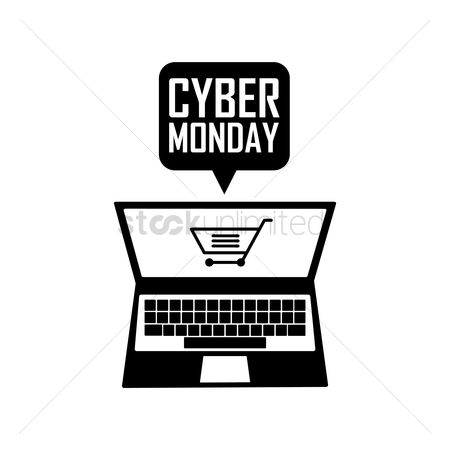 Terms : Laptop with cyber monday speech bubble