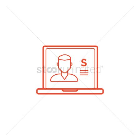 E commerces : Laptop with man with member account