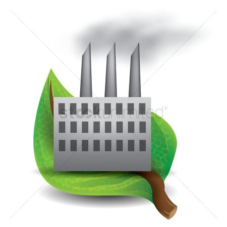 Pollutions : Leaf with factory