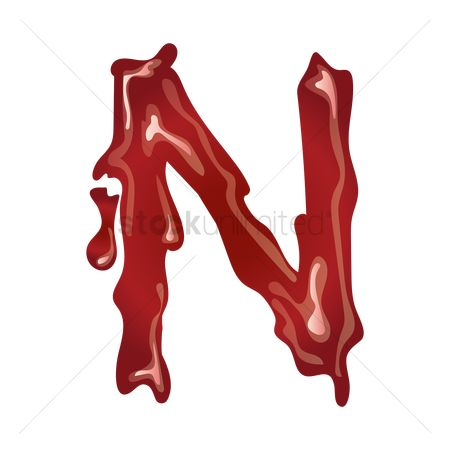 Drippings : Letter n with dripping blood