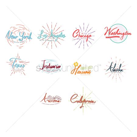 Indiana : Lettering of american cities collection