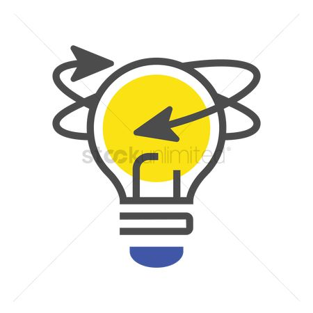 Electricity : Light bulb with arrows icon