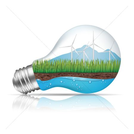 Electricity : Light bulb with ecological concept