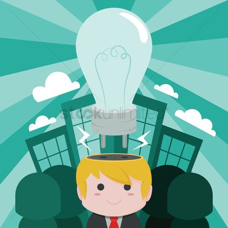 Smart : Lightbulb concept of smart businessman with idea