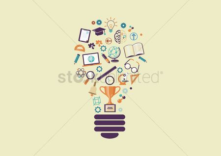 Magnifying : Lightbulb with education icons