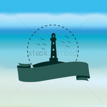 Coast : Lighthouse and banner