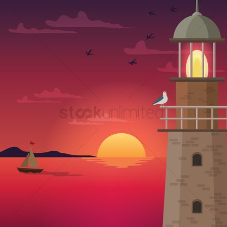 Towers : Lighthouse at dusk