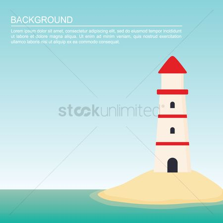 Towers : Lighthouse on beach background
