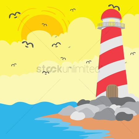 Lighthouses : Lighthouse on seashore