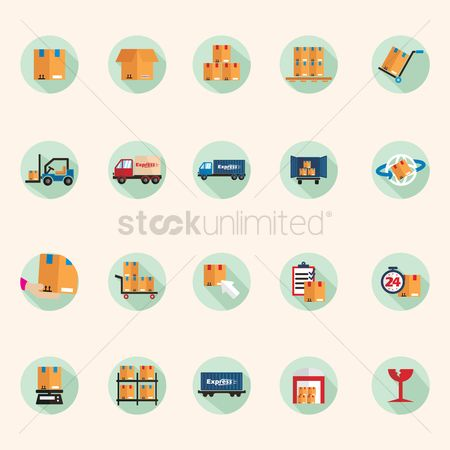 Fork lift : Logistics delivery icons