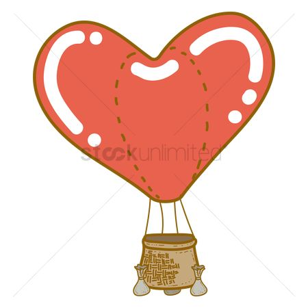 Valentines day : Love shape hot air balloon