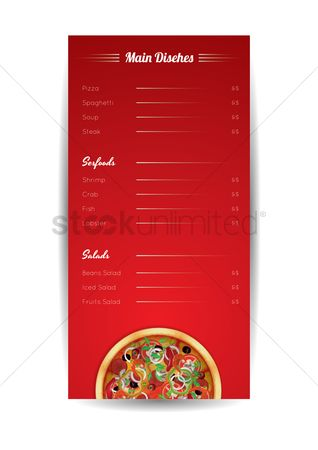 Unhealthy eating : Main dishes price menu poster