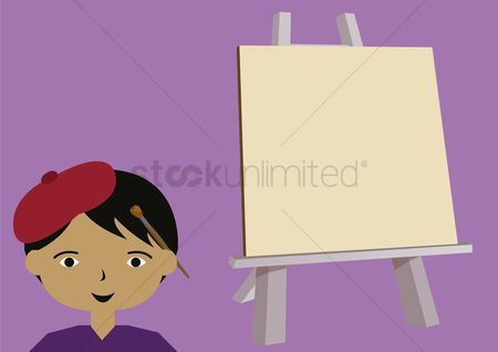 Beret : Male painter with easel