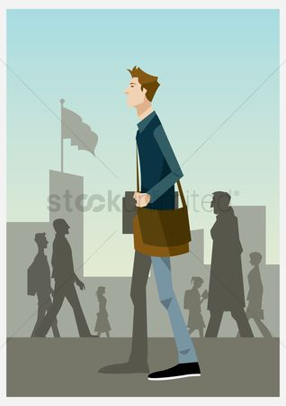 School bag : Male student walking