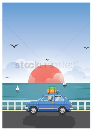 Holiday : Man driving a car