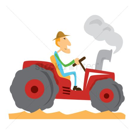 Smokes : Man driving tractor
