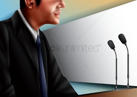 Microphones : Man giving a speech