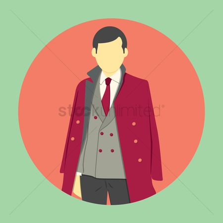 Man suit fashion : Man in stylish burgundy trench coat