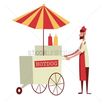 Food cart : Man selling hot dog