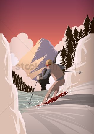 Hills : Man snow skiing
