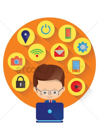 Power button : Man using technology icons