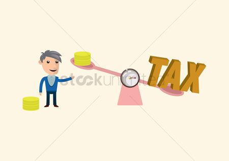 Weighing scale : Man weighing coins with the word tax