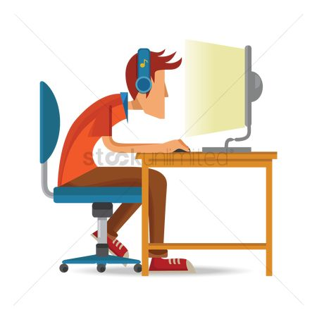 Character : Man working on computer