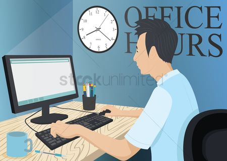 Guys : Man working on desktop at office