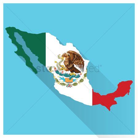 Cartography : Map and flag of mexico