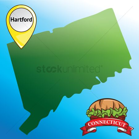 Connecticut : Map of connecticut state with burger