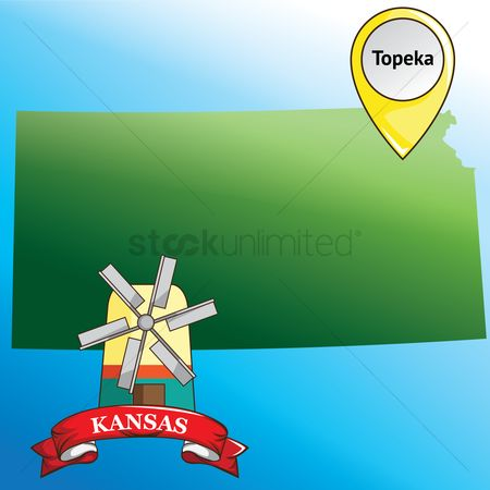 Kansas : Map of kansas state with windmill