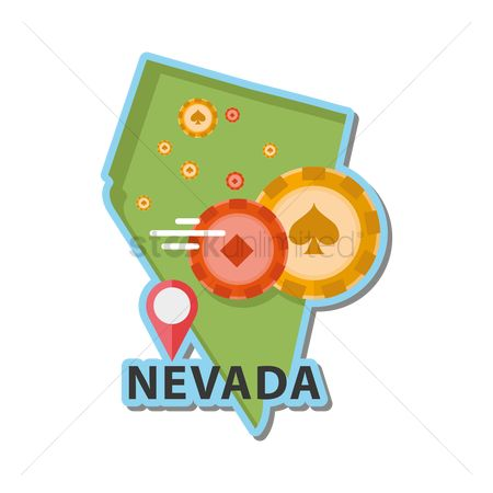 Poker chips : Map of nevada state