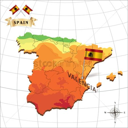 Valencia : Map of spain with valencia
