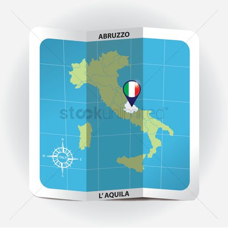 Highlights : Map pointer indicating abruzzo on italy map