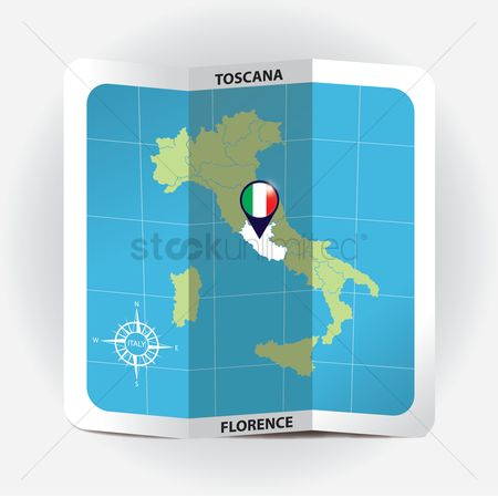 Highlights : Map pointer indicating toscana on italy map