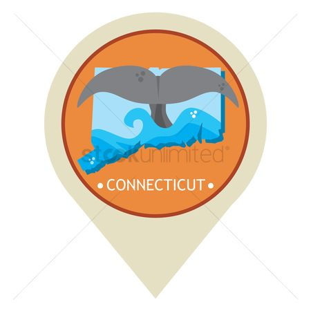 Connecticut : Map pointer with connecticut state