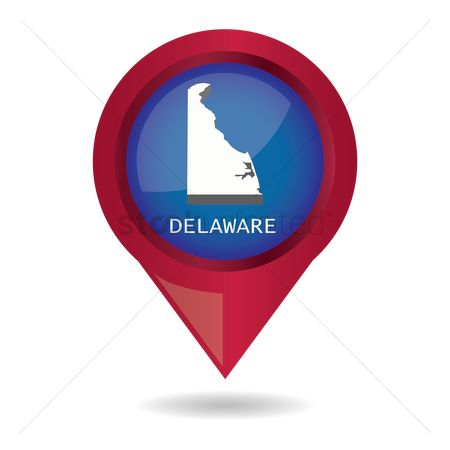 Delaware : Map pointer with delaware state