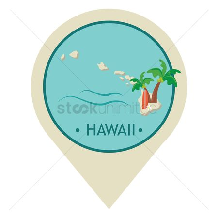 Surf beach : Map pointer with hawaii state