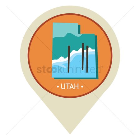 Great salt lake : Map pointer with utah state