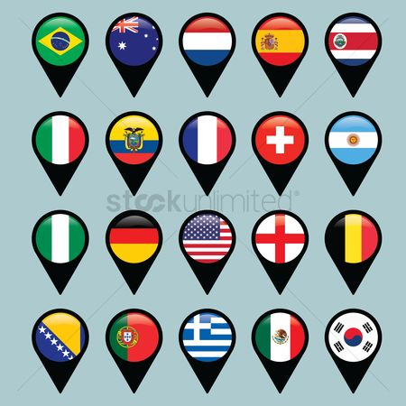 Patriotic : Map pointers with national flag set