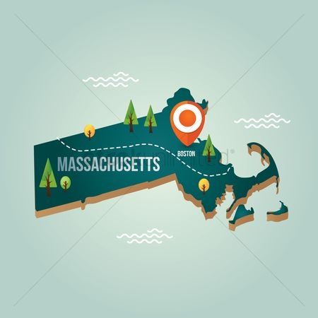 Capitals : Massachusetts map with capital city