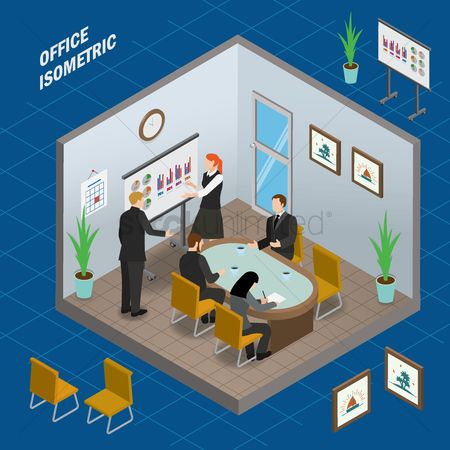 Timepiece : Meeting room office isometric