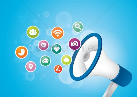 Broadcasting : Megaphone with social media icons