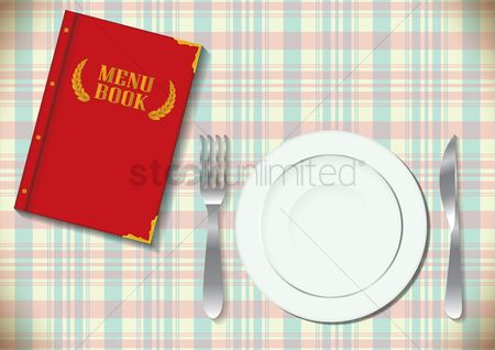 Laurel : Menu with a plate  fork and knife
